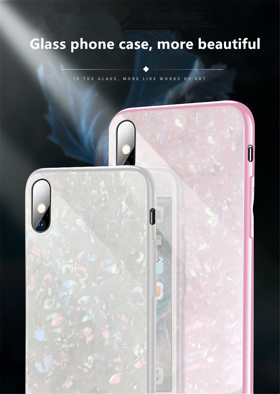 Luxury Tempered Glass Geometric Case For iPhone X 7 8 Plus Soft TPU Frame Art Print Patterned  ProtectiveCover For iPhoneX 10 (2)