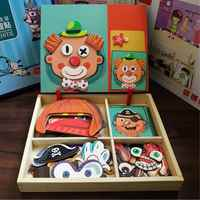 Wooden Kids Educational Toys Magnetic Puzzles Game Set Easel Board Fun Reusable Stickers For Children Kids Baby Gifts