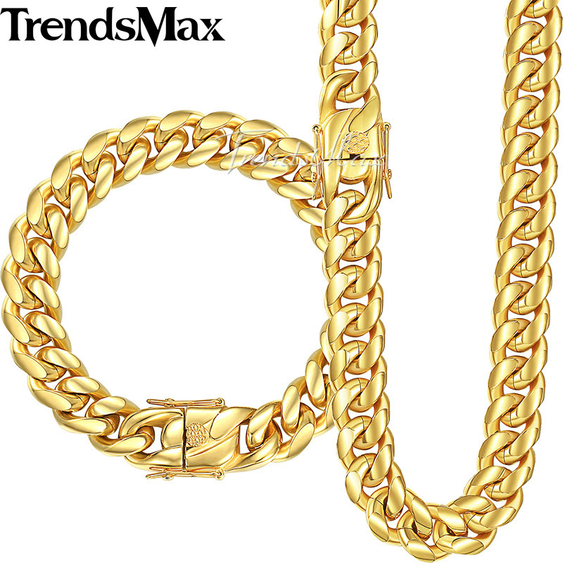 Trendsmax Miami Curb Cuban Link Womens Mens Jewelry Set 316L Stainless Steel Hip Hop Gold Silver Tone 8/12/14mm KHSM01 trendsmax ring for men 316l stainless steel gold silver color illuminati pyramid eye ring hip hop jewelry accessories hr365
