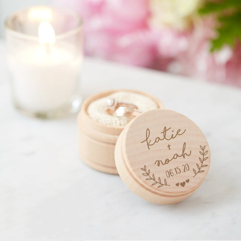 Case Engraved-Ring Personalized Keepsake-Holder Wedding-Ceremony Rustic Ring-Box Wooden