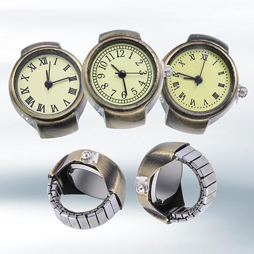 Women's Vintage Punk Style Creative Round Alloy Quartz Finger Ring Watch