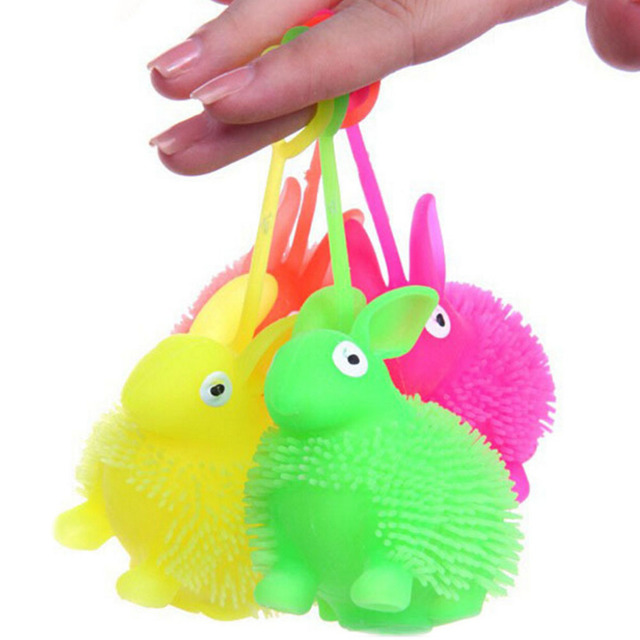LED Light Squeeze Anti Stress Autism Flush Rabbit Flash Ball Elasticity Toy