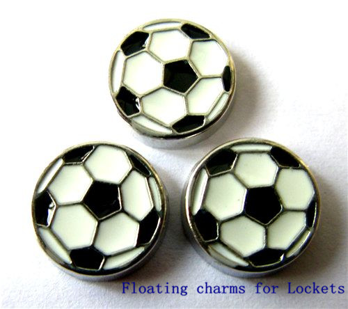 20PCS Cute Black White Football Soccer Alloy Floating Charms Fit Glass Locket Charms DIY Jewelry Accessories