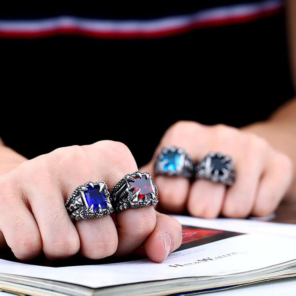 Cool Stainless Steel Ring Claw Square Rhinestone Men\'s Halloween ...