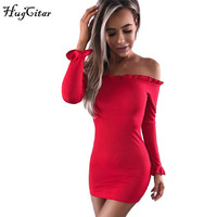 Hugcitar Long Flare Sleeve Off Shoulder Women Knitted Slash Neck Dress 2017 Autumn Winter Female Sexy