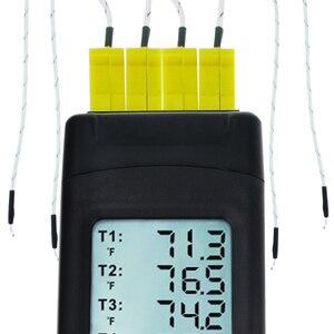 Image 4 - 4 канальный цифровой термопар K Type термометр с подсветкой K Type металлический и шариковый зонд Температурный инструмент