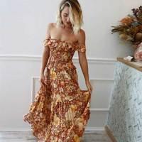 Boho Inspired orange floral print off shoulder boho dress ruffles bust cascading tierd summer dresses gypsy casual women dress