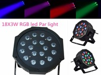 ( 4pcs/lot ) 18pcs 3W RGBW LED Par Light Flat Parcan Plastic led par DJ KTV wash lighting