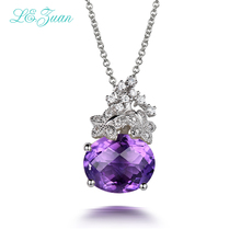 L&zuan S925 Silver Amethyst Woman Pendants Classic Luxury 7.25ct Gemstones Fine Jewelry Wedding anniversary Necklaces Gift