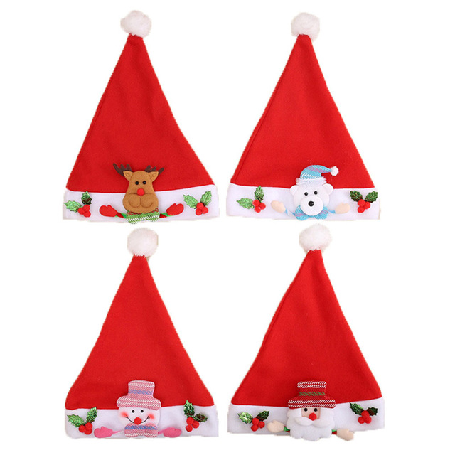 755ce83f2631a New Christmas decorations Santa Claus Plush Hat Adult Children Xmas Cartoon Hats  Caps New Year s Gifts Home Party Supplies