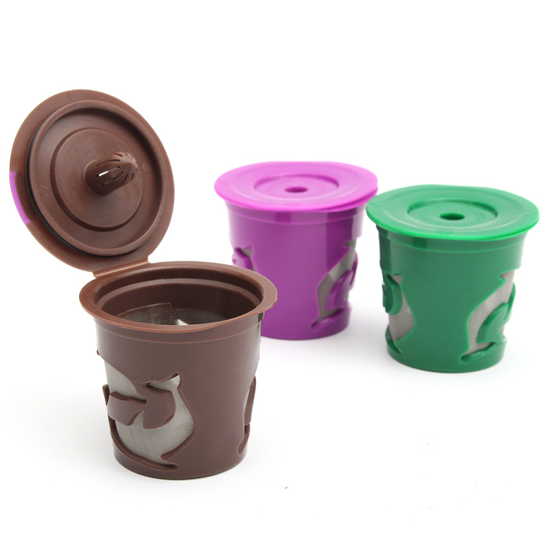 Capsules:  1Pc Refillable Coffee Filter Cups Reusable Coffee Capsules Filter K-Carafe K-Cup For Keurig 2.0 Machines Bar Coffeeware Tools - Martin's & Co