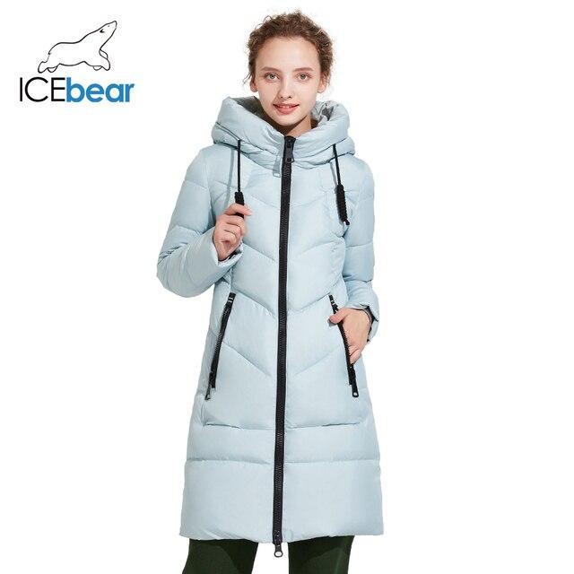 ICEbear 2017 Женская удлинённая зимняя теплая куртка со стоячим воротником 17G6516D