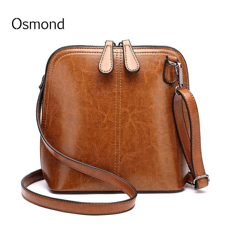 Osmond Oli Wax Leather Shell Bag Retro Small Messenger Bag Ladies Shoulder Crossbody Bags For Women Mini Bags Black Brown Bolsa