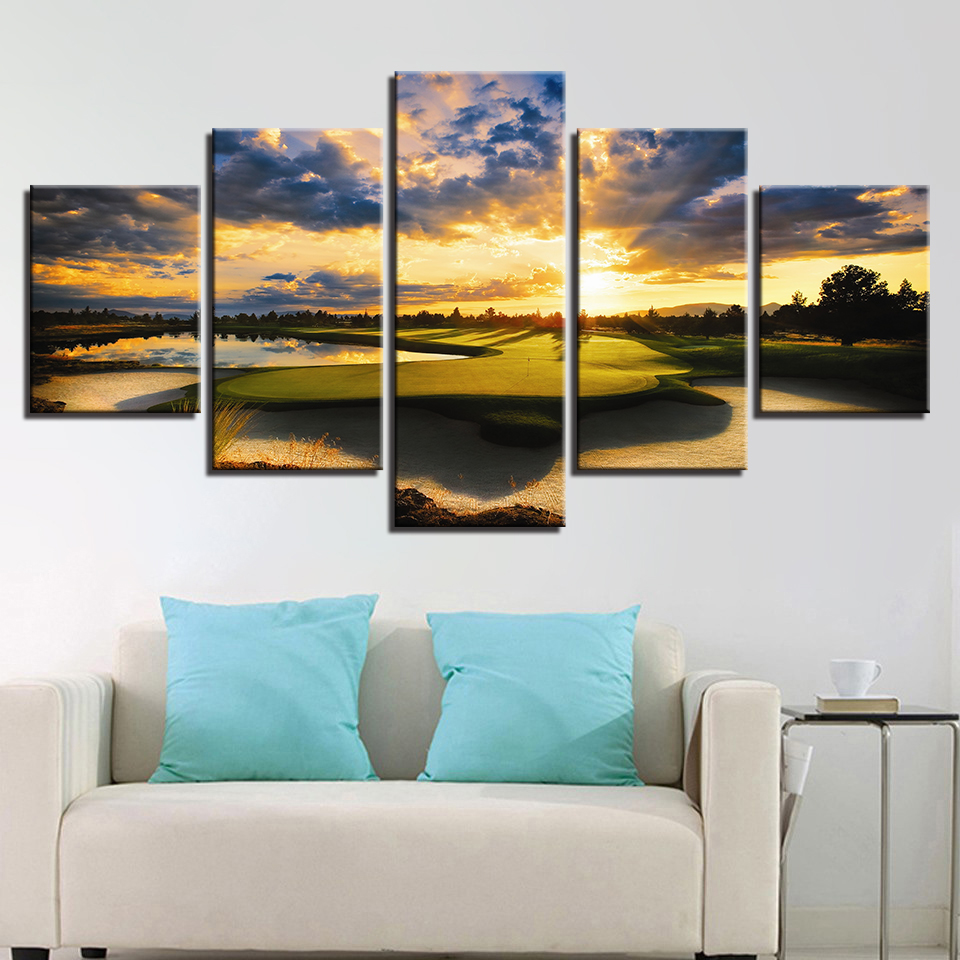 5 Panel Sunset Golf Course Canvas Painting Modern Home