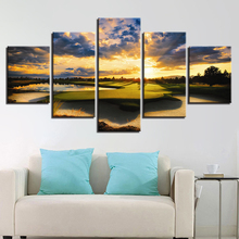 5 Panel Sunset Golf Course Canvas Painting Modern Home Wall Art Decor HD Print Sunrise Landscape Picture Poster For