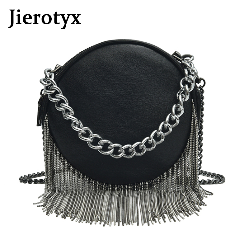 JIEROTYX Trendy Luxury Handbags Women Bags Designer PU Leather Sexy Chain Women Croddbody Messenger Bags Zipper Gothic Bag Lady