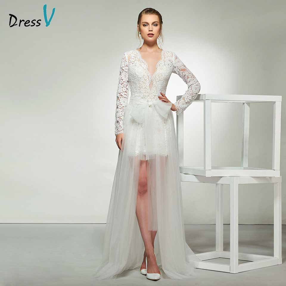 Dressv Elegant Sheath Lace Long Sleeves Wedding Dress
