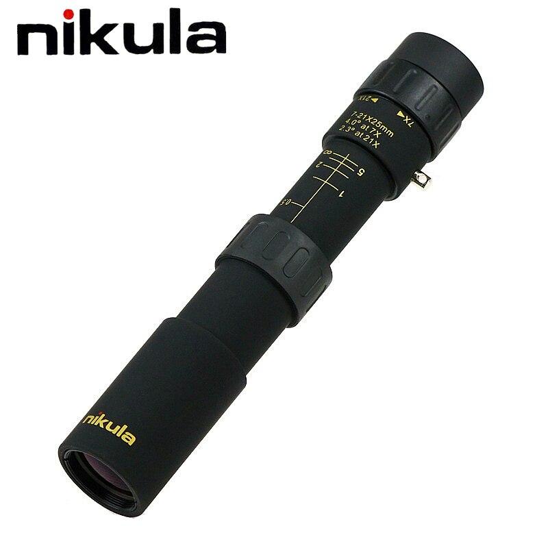 Originale nikula 10-30x25 Zoom Monoculare di alta qualità Telescopio Tasca Binoculo Caccia Prisma Ottico Scope senza treppiede