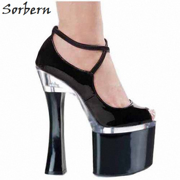 Sorbern Black Square Chunky High Heel Women Pumps Patent Leather Thick Platform Shoes Ladies Exotic Dancer Shoes Factory Sales