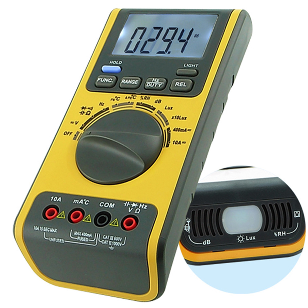 5-in-1 Multifunction Multimeter Lux Light Tester Sound Level Humidity Thermometer Meter 3999 Counts Max 5 in 1 multifunction multimeter lux light tester sound level humidity thermometer meter 3999 counts max