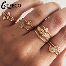 CUTEECO 10 Pcs/set Delicate Luxury Star Crystal Geometry Irregular Opal Woman Joint Ring Set Charm Party Wedding Jewelry