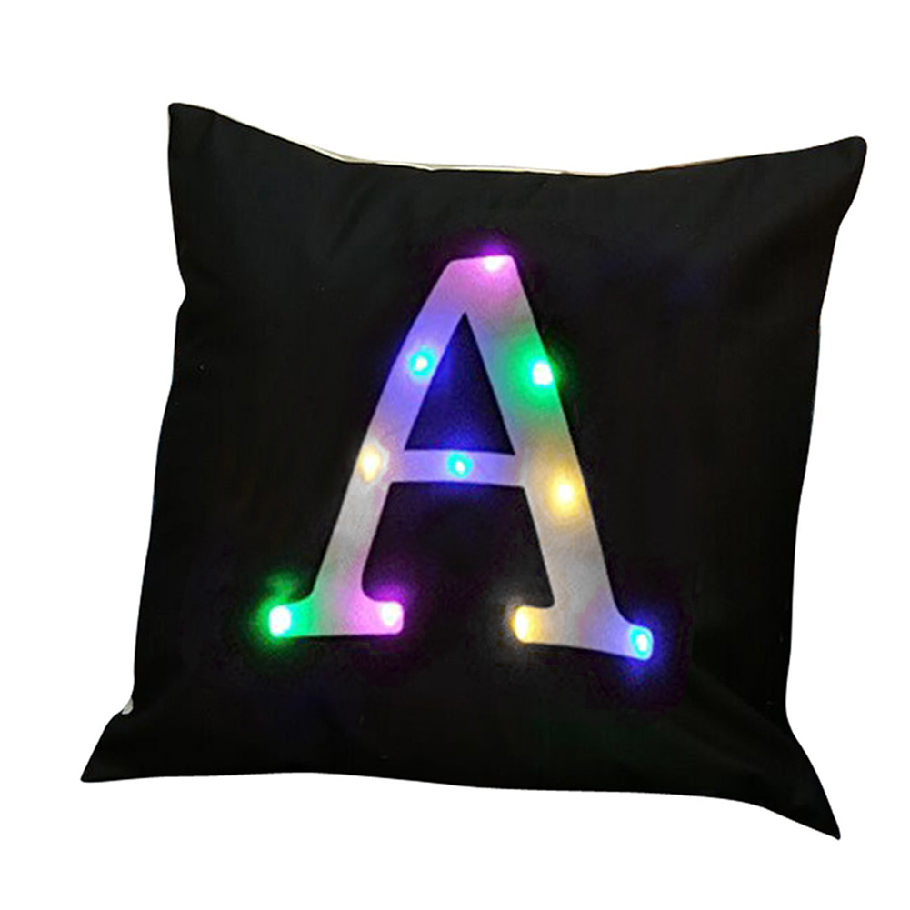 LED Light Up Letter Print Throw Pillow Case Cushion Cover Living Room Sofa Decor
