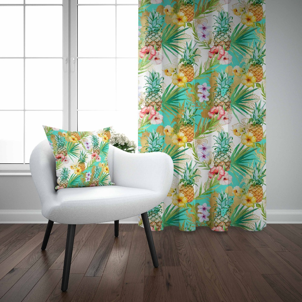 Else Tropical Green Leaf Pineapple Red Purple Flowers 3d Print Living Room Bedroom 1 Panel Set Curtain Combine Gift Pillow Case|Curtains| |  - title=
