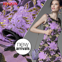 High quality yarn dyed occident style brocade jacquard purple fabric used for women evening dress clothing coat parchwork