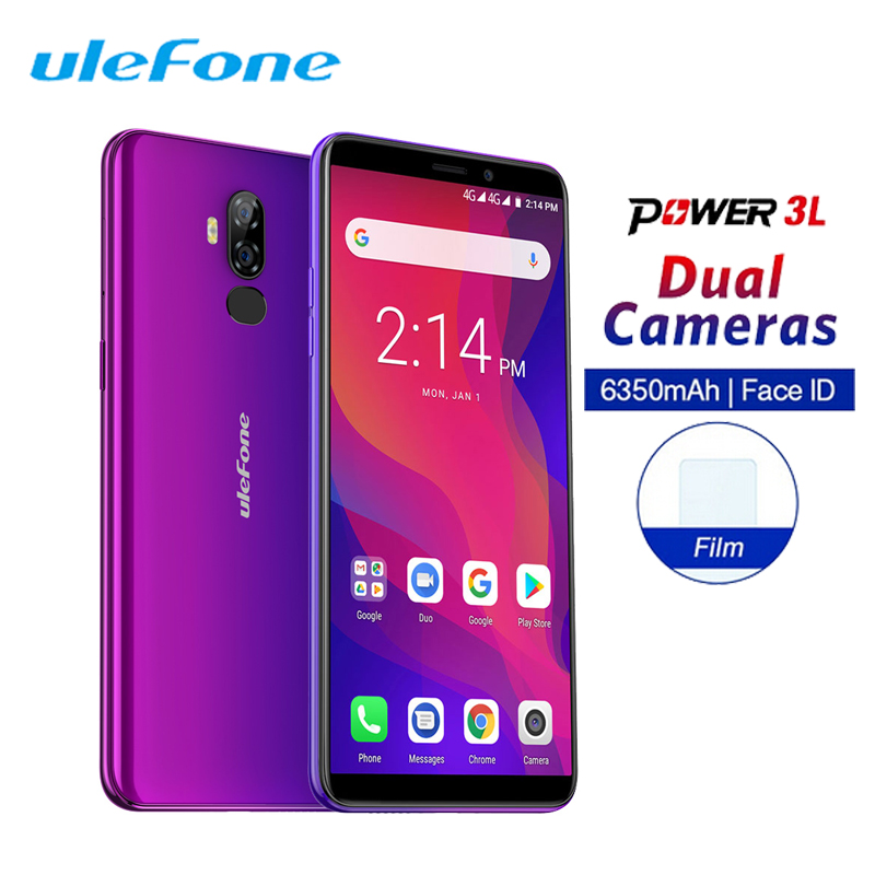 Ulefone Power 3L 6 18:9 Mobile Phone Android 8.1 MTK6739 Quad Core 2GB+16GB 13MP+5MP NFC 6350mAh Face ID Dual 4G Sim Smartphone  - buy with discount