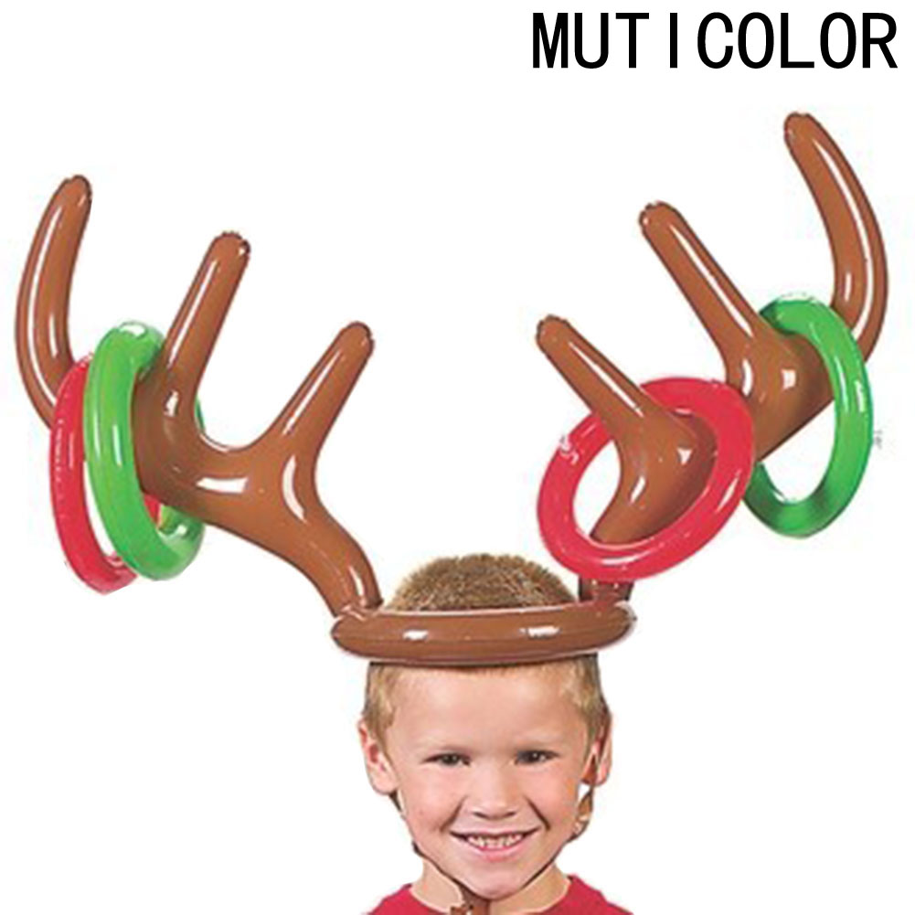 New Children s font b Toys b font Deer Head Shape Inflatable Ring Games Inflatable font