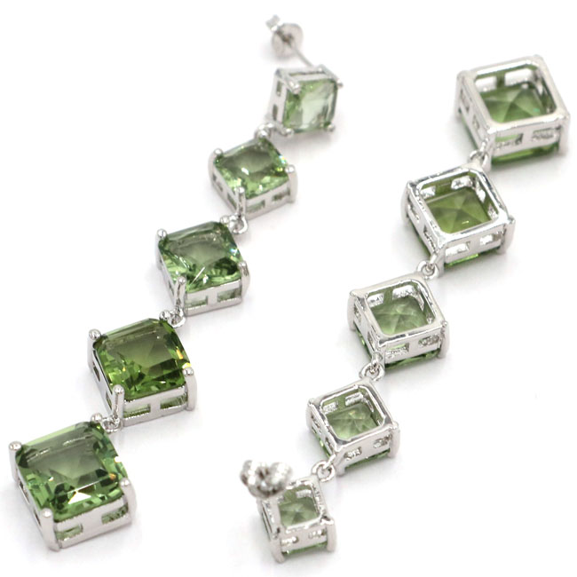 Ravishing Long Square Green Amethyst Ladies Party Silver Earrings 78x15mm