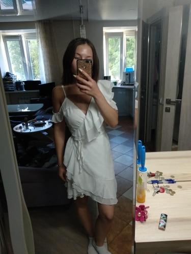 Simplee Ruffle cold shoulder white dress women High waist wrap chiffon dress vestidos Streetwear strap casual summer dress 2018