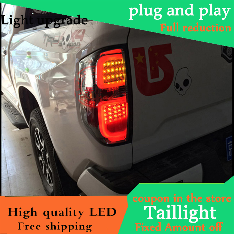 Car Styling Smoked Black Tail Lights For Toyota Tundra 2014 2015 2016 Taillights LED Tail Light