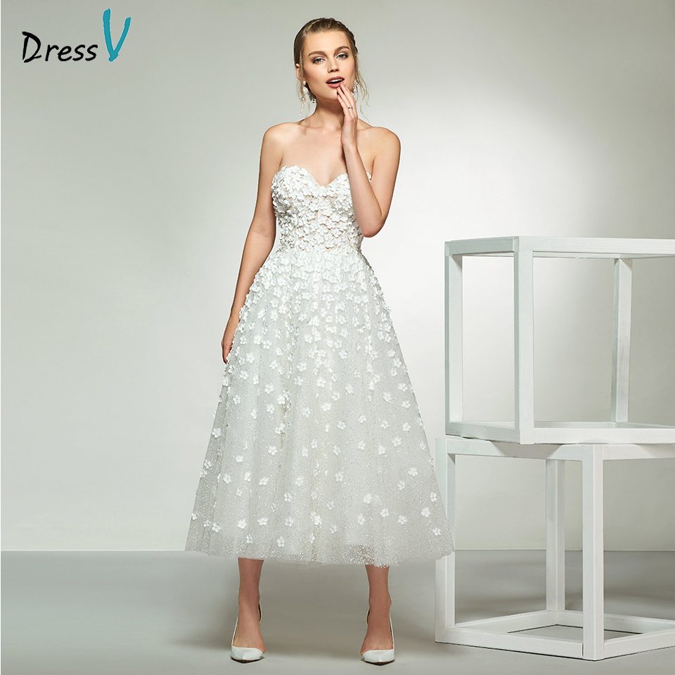 Dressv Elegant Ivory Sweetheart Neck Appliques Lace Wedding Dress Tea Length Simple Bridal Gowns A Line Wedding Dresses