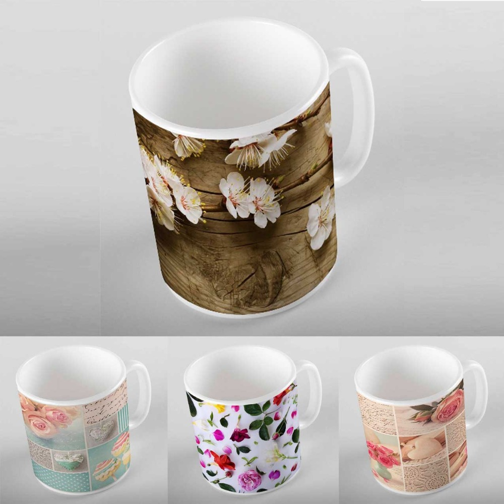 Else Green Leaves Blue Flower Garden Stones 3D Digital Printing Modern Turkish Ceramic Porcelain Coffee Tea Milk Cup Mug