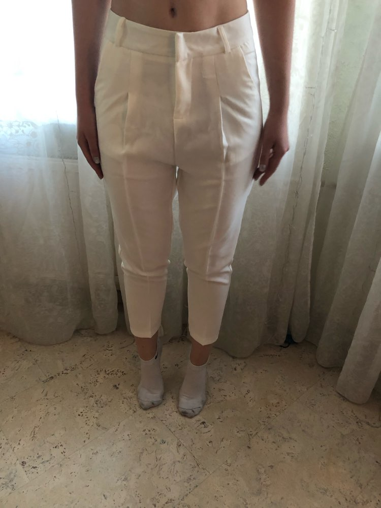 Ol Style White Women Pants Casual Sashes Pencil Pant High Waist Elegant Work Trousers Female Casual Pantalon Femme photo review
