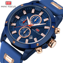 MINI FOCUS Chic Marine Men Quartz Analog Watch 3D Bolt Design 6 Hands 24H Calendar Date Rubber Strap Steampunk Clock
