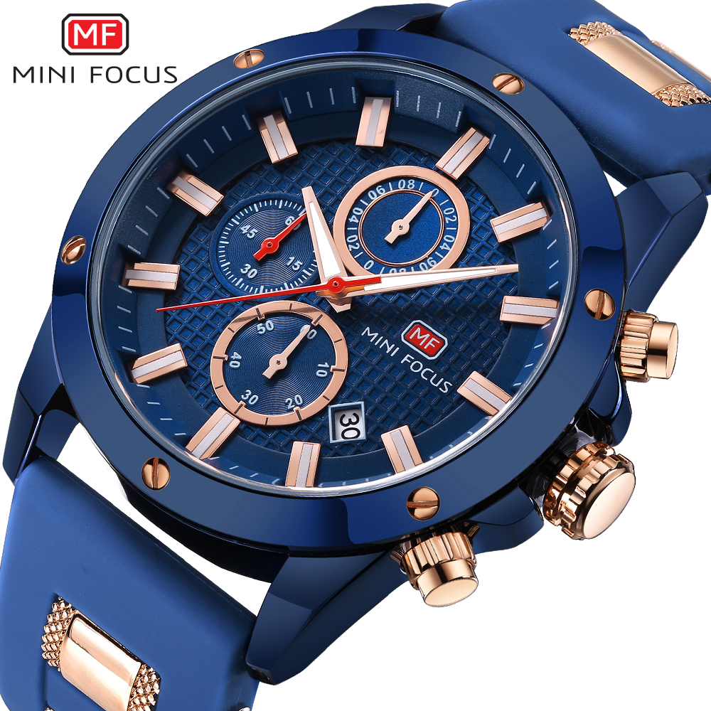 MINI FOCUS Chic Marine Men Quartz Analog Watch 3D Bolt Design 6 Hands 24H Calendar Rubber Strap Luxury Fashion Clock WITH BOX