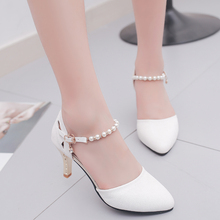 2019 summer new hollow high heels Korean fashion hollow thin with pearl casual w