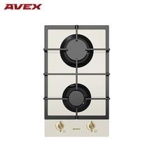 Встраиваемая панель с газконтролем, с чугунными решетками AVEX HM 3022 RY бежевое закалённое стекло, ручки бронза