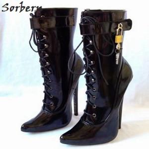 Image 2 - Sorbern 18 cm sexy salto alto ankle boots para mulheres chaves de bloqueio poineted pólo sapatos de dança cosplay unisex china sapatos tamanhos grandes 37 50
