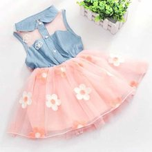 Girls Dress 2019 Summer New European and American Fashion Baby Above Knee Dress Girls Print Big Bow Tie Princess Dress(China)