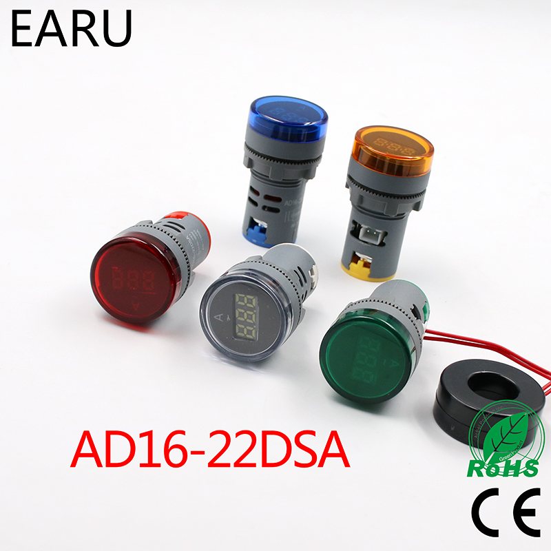 22mm LED Digital Display AC 60-500V 0-100A Ampermeter Ammeter Voltmeter Voltage Current Meter Gauge Indicator Signal Light Pilot