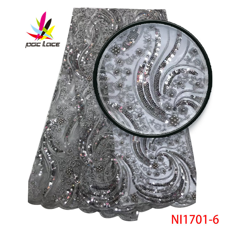 2019 High Quality Sequin Lace Fabric New Arrival African Lace Fabric With Beads Tulle Lace Fabric