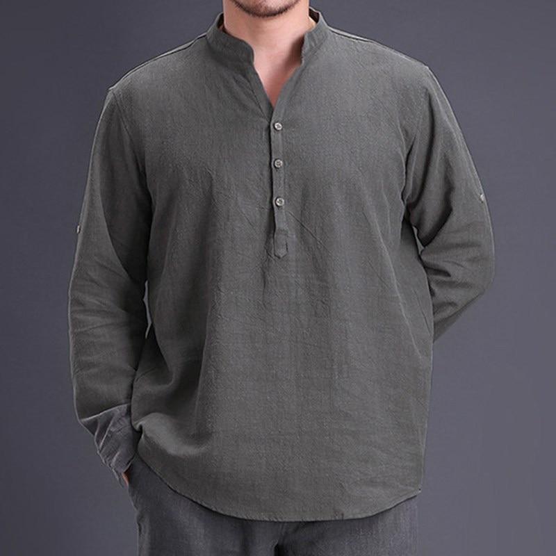 Chinese Style Cotton Linen Plain Shirt Men Long Sleeve Henley Casual Shirt Vintage Retro Clothing Hombre 2020 New Spring Autumn