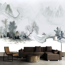 Simple New Chinese Style Ink Dream Landscape Sofa Wall Professional Production Wallpaper Mural