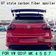 цена на Golf 4 5 6 7 MK4 MK5 MK6 MK7  GT Style Carbon Fiber Rear Roof Lip Spoiler Wing for Volkswagen Hatchback universal spoiler