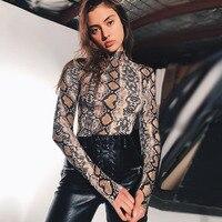Seksi Balıkçı Yaka Leopar Baskı Clubwear Üstleri Uzun Kollu Gömlek Kadın Ince Moda Üst T Shirt