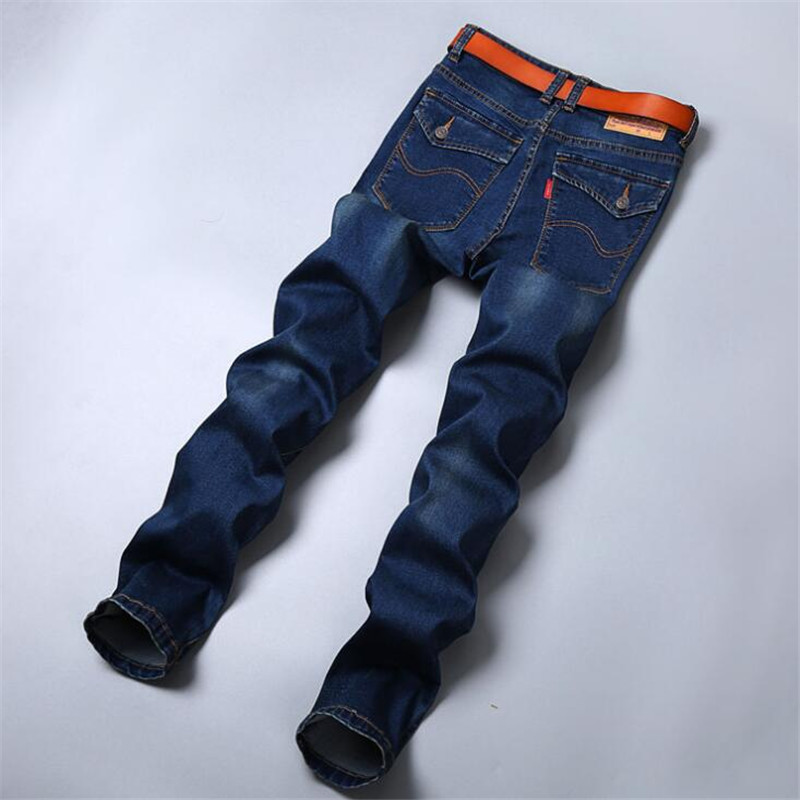 Plus size 44 46 48 50 mens jeans good quality straight stretch jeans men designer mens ,Casual Slim Black Straight Trousers