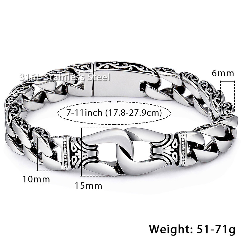 Men's Bracelet 316L Stainless Steel Curb Cuban Link Bracelet Totem Knot Charm Wristband Fashion Gift Jewelry Dropshipping HB10 2